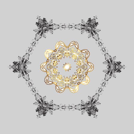 Vector illustration. Winter pattern on gray background. Simple snowflakes, floral elements, decorative ornament. Arab, Asian, ottoman motifs in colors.