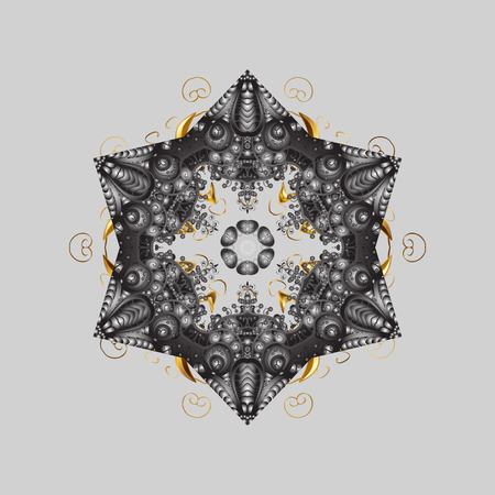 Happy New Year winter background. Vector design for textile, sketch, fabric, wrapping paper. And gray simple Christmas pattern - varied Xmas snowflakes with dots. Illustration