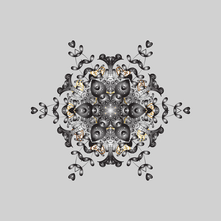 Snowflakes design on gray background in colors. Golden elements. Abstract with Floral Elements. Vector winter pattern.