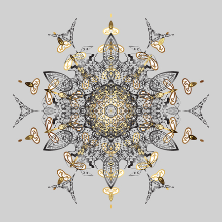 Abstract with Floral Elements. Vector winter pattern. Snowflakes design on gray background in colors. Golden elements.