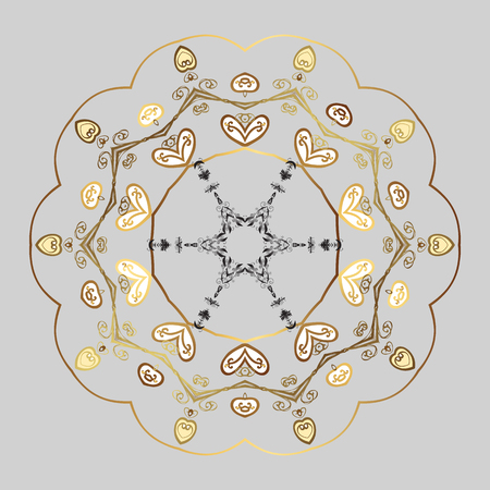 glorious: Vector abstract design in colors. Golden elements with doodles. Snowflakes and dots on gray background.