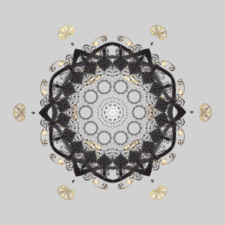 glorious: Isolated watercolor golden elements on gray background. Vector illustration with isolated snowflakes. Symbol of winter. Beautiful decoration.