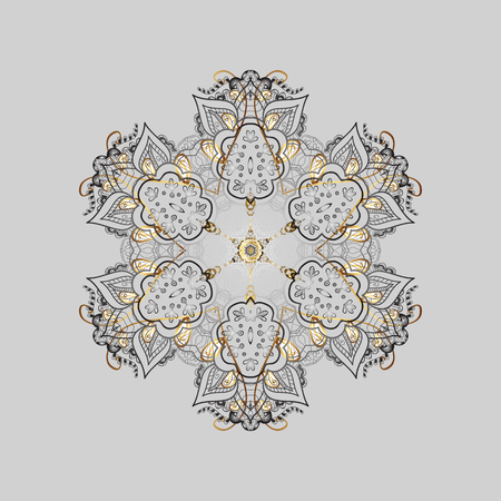 newyear: Christmas Stylized Snowflakes on a Gray Background. Winter pattern. Vector design with doodles and golden elements.