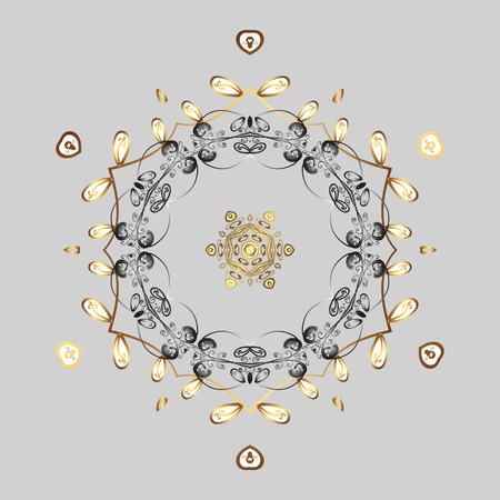 Vector illustration with isolated snowflakes. Symbol of winter. Isolated watercolor golden elements on gray background. Beautiful decoration.