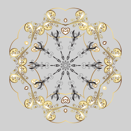 Winter pattern. Vector design with doodles and golden elements. Christmas Stylized Snowflakes on a Gray Background.