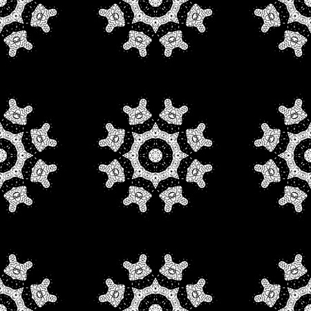 Vector vintage baroque floral seamless pattern in white. Ornate decoration. Luxury, royal and Victorian concept. White pattern on a black background with white elements.