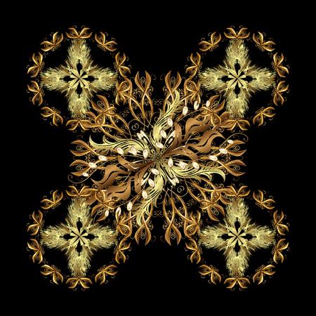 Stylish graphic pattern. Golden elements on golden background. Sketch baroque, damask. Floral pattern. Vector background.
