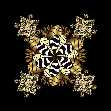 Snowflake vector design in black colors. Snow flakes background with doodles and golden elements. Illustration
