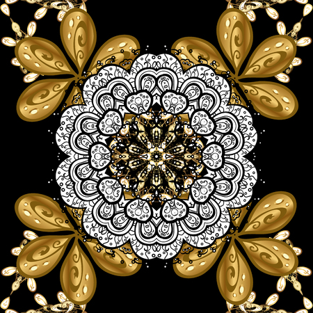 Abstract minimal background. Vector black snowflakes on black background with golden and doodles elements. Illustration