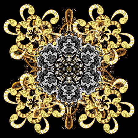 Beautiful vector black golden elements isolated on a white background. Snowflakes, snowfall, doodles. Falling Christmas stylized snowflakes.