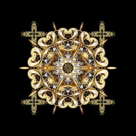 Classic vector pattern. Golden pattern on golden background with elements. Traditional orient ornament. Classic vintage background.