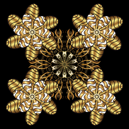 Classic vector golden pattern. Floral ornament brocade textile pattern, glass, metal with floral pattern on golden background with golden elements.