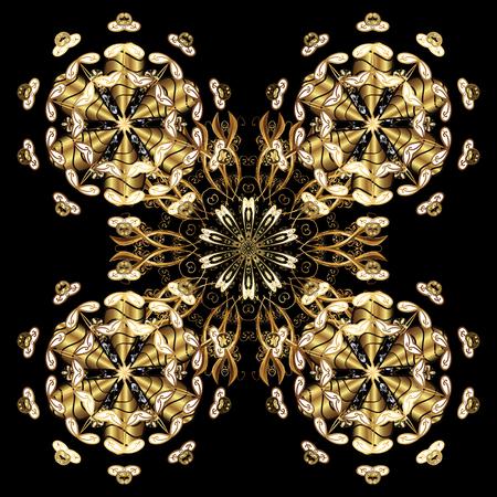 Decorative symmetry arabesque. Medieval floral royal pattern. Golden on golden background. Vector illustration. Good for greeting card for birthday, invitation or banner. Illustration