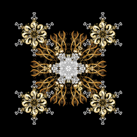 Golden design with doodles and golden elements. Vector on black background for Christmas. Decorative black snowflakes pattern. Illustration