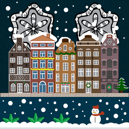 Evening city winter landscape with snow cove houses and christmas tree. Holidays Vector illustration. Illustration