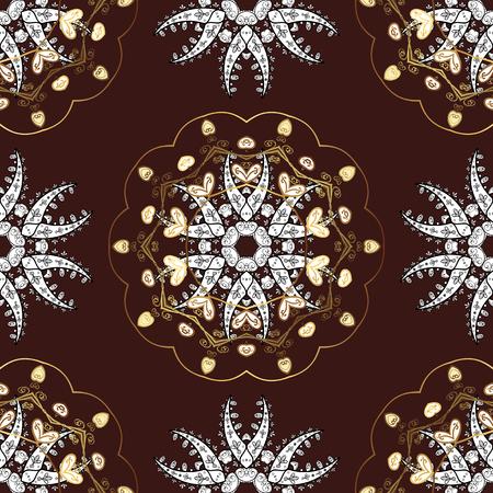 baroque border: Seamless golden textured curls. Vector golden pattern. Oriental style arabesques. Vector illustration. Brown background with golden elements.
