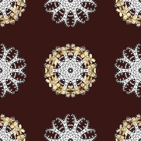 Golden brown floral ornament in baroque style. Antique golden repeatable sketch. Damask seamless pattern repeating background. Golden element on brown background.