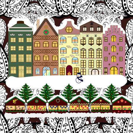 claus: Vector illustration. Background. Winter village landscape.