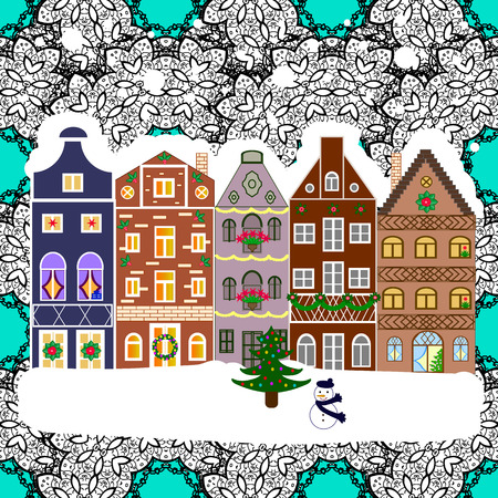 rejoice: Winter is coming. Over a background. Holidays Vector illustration. Nature landscape. Vector illustration. Winter city with trees, cute houses. Landscape with nature and houses.