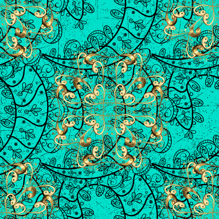 Oriental style arabesques. Vector golden pattern. Golden textured curls. ?attern on blue background with golden elements. Illustration