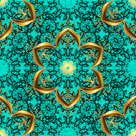 Vector illustration for invitations, cards, certificate, web page. Eastern style element. Vector line art border for design template. Golden outline floral decor. Golden element on blue background.