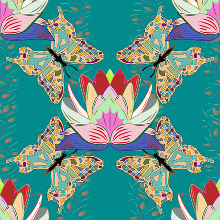 thai motifs: Natural pattern. Vector Mandala colored on blue background. Leaves. Butterfly. Orient, symmetry lace. East, Islam, Thai, Indian, ottoman motifs. Lotus. Arabic Vintage decorative ornament. Illustration