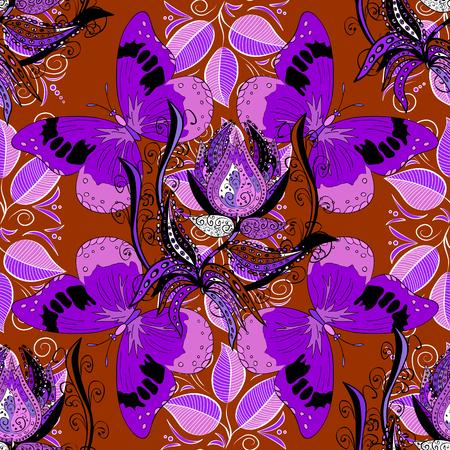 라일락 나비. 벡터 개요 만다라 빨간색 배경입니다. 디자인 요소입니다. 안티 스트레스 요법 패턴. 명상 포스터 장식 라운드 장식 배경입니다. 이파리. 일러스트