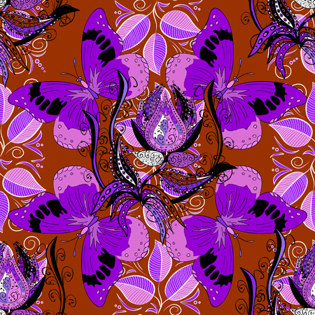 Lilac butterflies. Vector outline Mandala on red background. Design element. Anti-stress therapy pattern. Decorative round ornament background for meditation poster. Leaves.