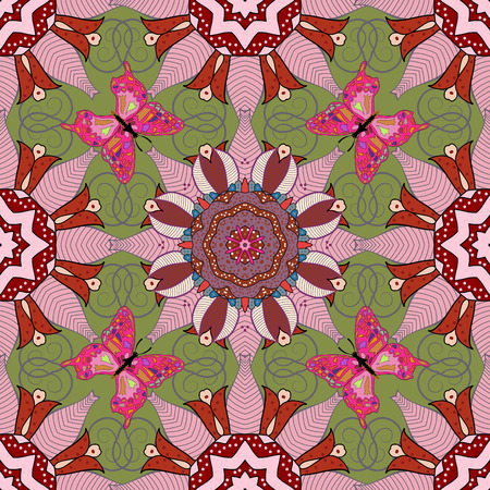 Mandala pattern. Vector Mandala colored on green background. Arabic Vintage decorative ornament. Orient, symmetry lace. Abstract Tribal, ethnic texture. Indian, ottoman motifs. Pink butterflies. Illustration