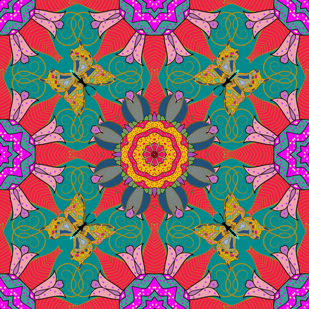 interesting: Seamless pattern with abstract ornament. Seamless pattern with Mandalas. Vector ornaments, background. Illustration