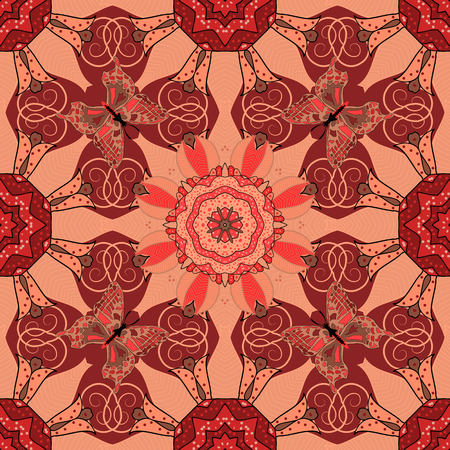 qigong: Vector Hand drawn floral background. Seamless pattern with abstract ornament.
