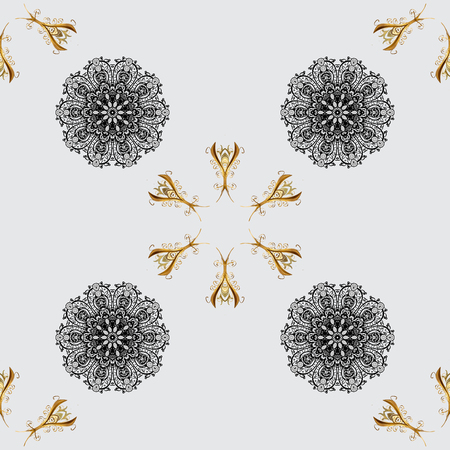 baroque border: Golden element on gray background. Gold gray floral ornament in baroque style. Damask seamless pattern repeating background. Gold Sketch on texture background.