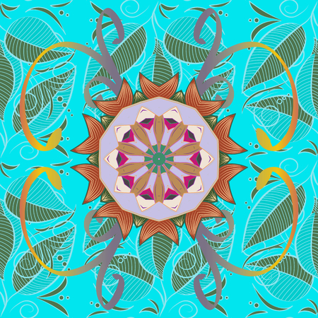 thai motifs: East, Islam, Thai, Indian, ottoman motifs. Leaves. Orient meditation symbol. Vector Mandala colored on blue background. Mandala pattern. Arabic Vintage decorative ornament. Tribal, ethnic texture.