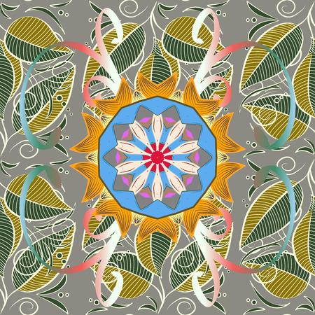 イスラム教の精神的な儀式のシンボル アラビア語、インドの宗教。カラフルな背景のマンダラ。Glod の色で幾何学的な円の要素。ベクター飾りパタ