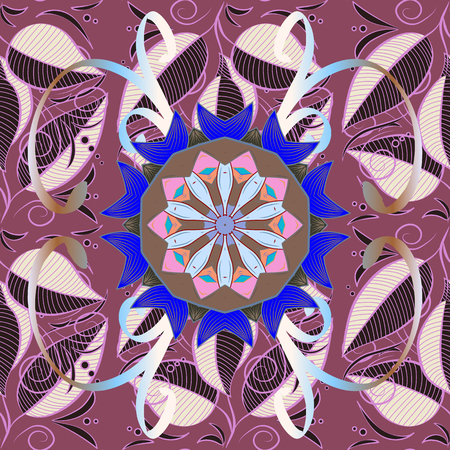 Pattern with abstract art flower for Tibetan yoga. Bohemian decorative element, indian henna design, vector retro circle ornament. Mandala, tribal vintage sketch with a medallion on pink background.