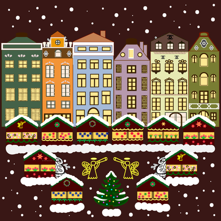 lighting background: Evening village winter landscape with snow cove houses. Vector illustration. Background. Christmas winter scene. Illustration