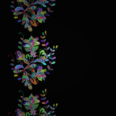 elevate: Abstract ethnic vector seamless pattern. Tribal art boho print, multicolor vintage flowers, leaves and buds on black background. Pattern texture, sketch, multicolored floral theme.