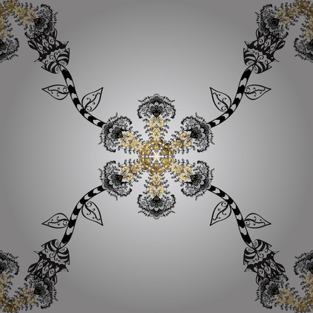 Seamless classic vector golden pattern. Floral ornament brocade textile pattern, glass, metal with floral pattern on gray background with golden elements.