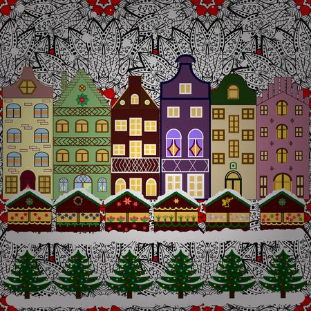 Winterhaus Weihnachten und Happy New Year Grußkarte. Flache Vektor-Illustration. Vektorgrafik