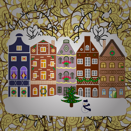 Landscape with nature and houses. Winter city with trees, cute houses. Winter is coming. Nature landscape.