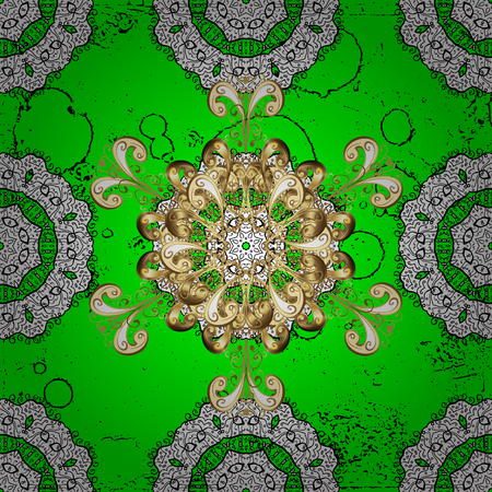 minaret: Christmas petals snowflake pattern. Symbol holiday, New Year celebration vector white pattern with white elements. White snowflakes on green background. Winter snow texture sketch.