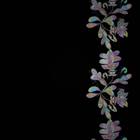 Vector illustration of multicolored flowers, leaves and buds on a black background. Seamless pattern with multicolor flowers. Floral background. Illustration