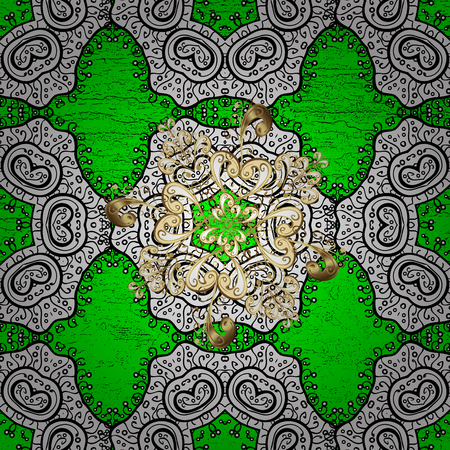 tissue paper art: Vector pattern on green background with golden elements. Damask pattern for design.
