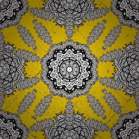 Oriental ornament in the style of baroque. Vector traditional classic golden pattern. Yellow on background. Illustration