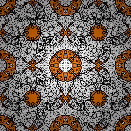 Orange background with white elements. White with floral pattern. Vector white floral ornament brocade textile and glass pattern. Seamless pattern.