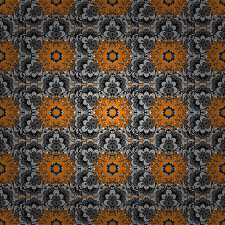 arched: Vector oriental ornament. Whiteen pattern on orange background with white elements. Seamless white pattern.