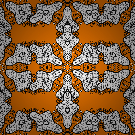Stylish graphic pattern. Sketch baroque, damask. White elements on orange background. Seamless vector background. Floral pattern.