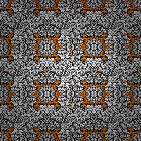 baroque border: White element on a orange background. White floral ornament in baroque style. Damask background. White floral seamless pattern.