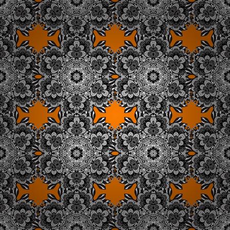 baroque border: Floral tiles. Vector white textile print. Islamic design. White pattern on orange background with white elements. Seamless pattern oriental ornament. Illustration