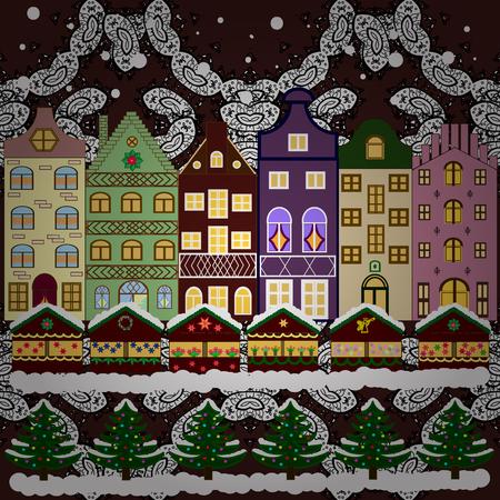 rejoice: Background. Winter village landscape. Vector illustration.